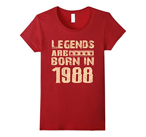 Womens 29 Years Old 29th Birthday B-day Gifts Legends 1988 T Shirt Medium Cranberry (Birthday Gifts For 29 Year Old Female)