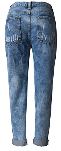 Casual Taille Beautisun Collants Haute Trous Pantalon Pantalon 3 Jeans Bleu Dames Pieds Extensible Jane Taille Jeans Denim Jeans lastiques Denim Normale Dcontract 8Bqa0r8