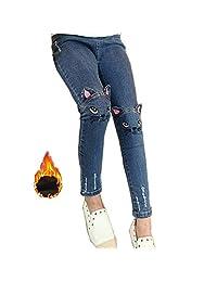 CosSky Kids Little Big Girls Denim Cartoon Cute Printed Jeans Embroidered Pants
