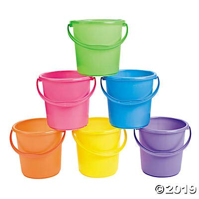 Sand Buckets for Kids (Set of 12 bright colored pails with handles) Great for Easter, the Beach and Play: Toys & Games