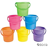 Sand Buckets for Kids (Set of 12 bright colored pails with handles) Great for Easter, the Beach and Play