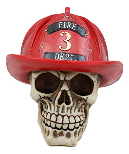 Ebros Gift Realistic Fireman Skull with Number 3 Fire Department Hat Helmet Figurine 7