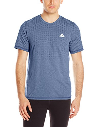 adidas Performance Men's Aeroknit Short Sleeve Tee, Collegiate Navy/Colored Heather, Small