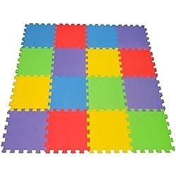 16 X-Large Eva Foam Soft Tile Mat Safe Playmat ideal Gift Toy Child & Baby Room, Interlocking Puzzle Multi Color flooring Exercise Yoga Pilates Toddler infant Game Play Area Yard Superyard Carpet