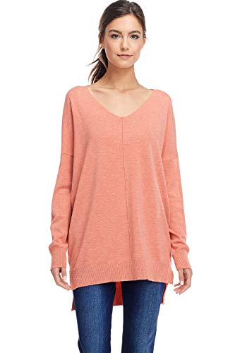 (A+D Womens Loose V-Neck Pullover Sweater Top W/Slight Hi-Low (H.Coral, Medium/Large))