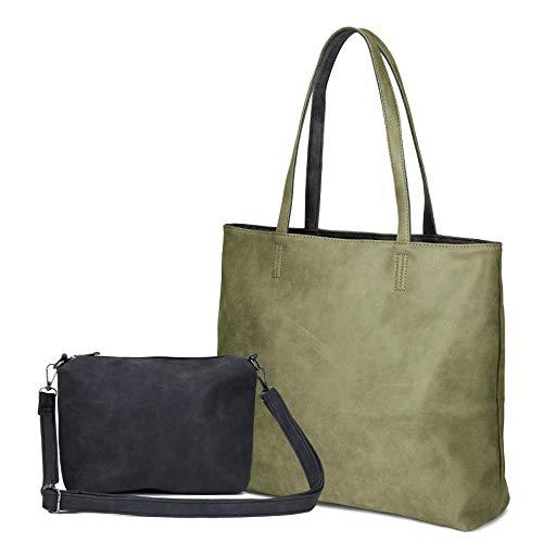 (Women's Two Colors Shoulder Bags PU Leather Tote Top Handle Satchel Purse Set 2pcs (Black&Green))