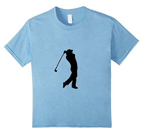 [Kids Golf Player Golfer Silhouette Sport Game T-Shirt 12 Baby Blue] (Baby Golfer Costume)