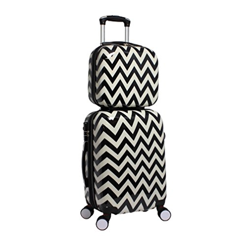 2 Piece Geometric Light Chevron Themed Spinner Upright Carry On Luggage Suitcases, Classic Geo Herringbone Zigzag Pattern, Expandable, Hardsided, Multi Compartment, Handle Travel Cases, Black, White by S & E