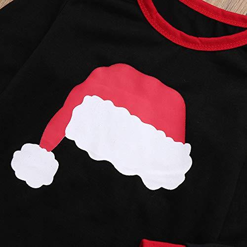 Stampa Abbigliamento figlio 2 Fumetto Nero Pigiami Alikeey Vestiti Mamma Del Natale Famiglia Cappello Signora Di Pantaloni Genitore 2pcs Top qHEgAz