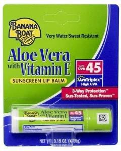 Aloe Lip Care Sunscreen ((Pack of 10) Banana Boat Aloe Vera with Vitamin E Sunscreen Lip Balm, SPF 45 .15 oz (4.25)