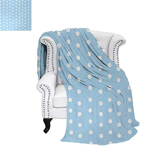 Homedecor Aqua Beach Blanket Watercolor Style White Spots on Blue Backdrop Retro Style Polka Dots Baby Pattern Weighted Blanket 50 x 30 inch Baby Blue White