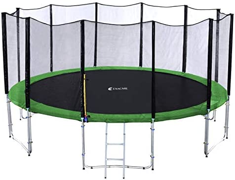 Exacme Round Trampoline 10 12 14 15 16 Feet with Green Safety Pad,Enclosure Net,Ladder