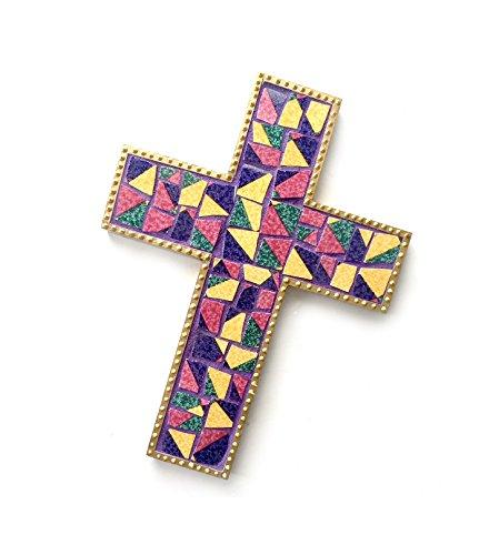 - Mosaic Cross, Purple Gold Mosaic Wall Cross, Purple Gold Ceramic and Wood Mosaic Cross, Mosaic Cross Wall Hanging, Handmade Wall Cross Decor