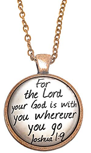 Blazing Autumn Rose Gold Necklace Pendant Joshua 1:9 Quote God is With You Glass Cabochon