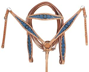 New Leather Blue Black Light Oil Headstall Reins Breast Collar Western Tack