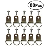 OUNONA 80Pcs D-Ring Shape Single Hole Hangers Cross Stitch Hanger Hook for Home Decoration Painting Picture Hanging Hook Wall Decorative Hooks with Screws (Silver)