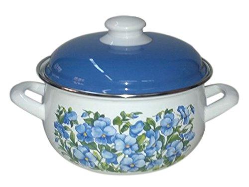 Europe Ware K15289/24 6.5 quart Casserole Pan with Decorative Design, Large, White/Blue