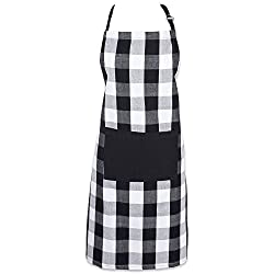 Dii Cotton Adjustable Buffalo Check Plaid Apron With Pocket Extra Long Ties 32 X 28 Men And Women Kitchen Apron For Cooking Baking Crafting Gardening Bbq Black White