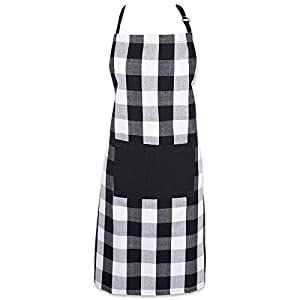 """DII Cotton Adjustable Buffalo Check Plaid Apron with Pocket & Extra-Long Ties, 32 x 28"""", Men and Women Kitchen Apron for Cooking, Baking, Crafting, Gardening, & BBQ - Black & White"""