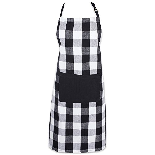 (DII Cotton Adjustable Buffalo Check Plaid Apron with Pocket & Extra-Long Ties, 32 x 28