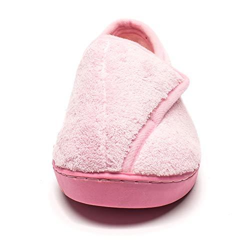 up Closed Women Slippers Slippers Memory Foam Edema Pink Git Toed Arthritis Diabetic 4qgFxA4wd