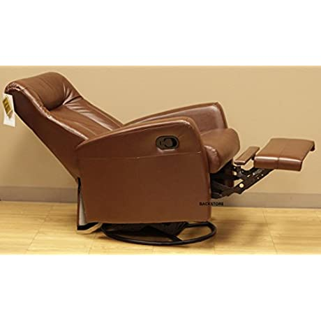 Barcalounger Grissom II Leather Manual Swivel Glider Rocker Swing Recliner 8 1059 Stargo Brown Leather Split Chair 3451 16 Standard Ground Curbside Delivery