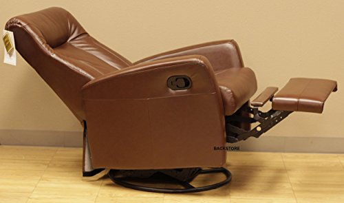 Barcalounger Grissom II Leather Manual Swivel Glider Rocker Swing Recliner 8-1059 - Stargo Brown Leather Split Chair 3451-16 - Standard Curbside Delivery to Hawaii, Alaska, Puerto Rico and Canada by BarcaLounger