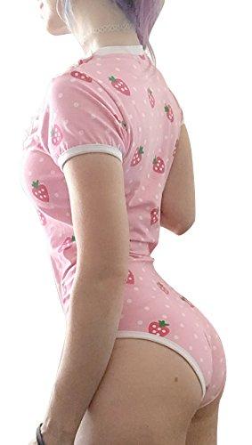 d918a419a59b Littleforbig Adult Baby & Diaper Lover (ADBL) Snap Crotch Romper Onesie -  Strawberry Pattern