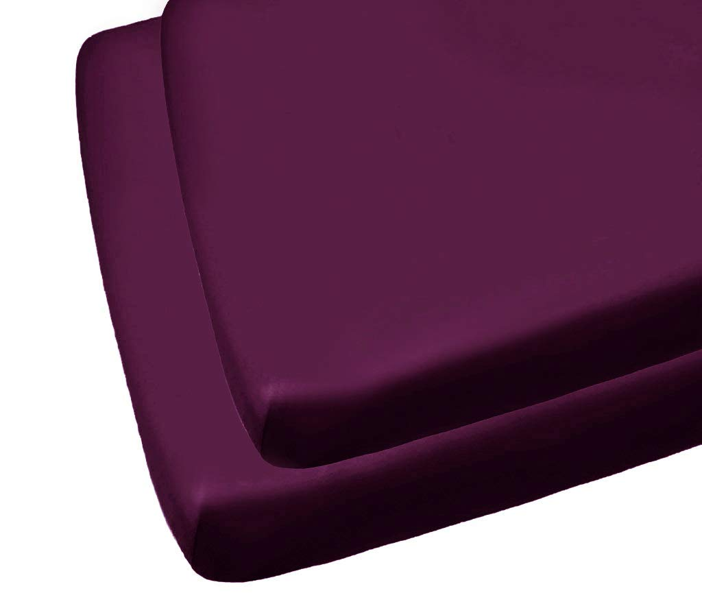 2 Luxury Cot Bed Fitted Sheets Easy Care 70 x 140CM Purple