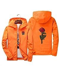 Men's Women Casual Hooded Jacket Windbreaker Embroidery Rose Spring Fall Streetwear College Style