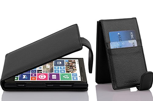 (Cadorabo Case Works with Nokia Lumia 929/930 in Oxide Black - Flip Style Case Made of Structured Faux Leather - Wallet Etui Cover Pouch PU Leather Flip)