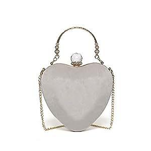 Clutch - Heart-Shaped Evening Bag, Crossbody Bag, Solid Color Handbag (Color : Gray)