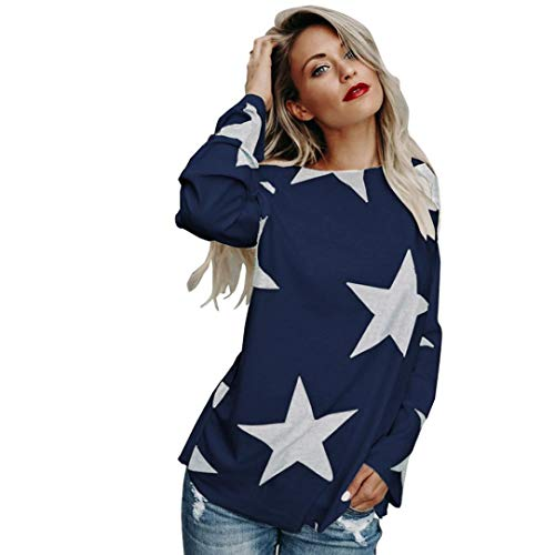 Yuxikong Womens Sweatshirt, Girl Strapless Star Sweatshirt Long Sleeve Crop Jumper Pullover Tops (Navy, XL)