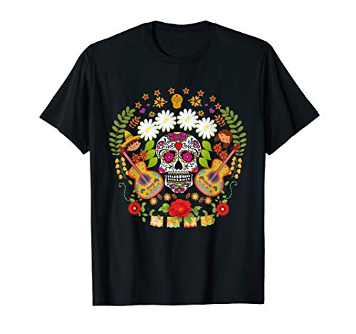 Day Of The Dead Tee Shirts Mariachi Guitar