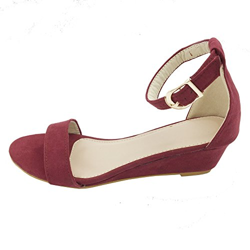 Toe Ankle Strap Wedge - ZuQing Women Summer Open Toe Ankle Strap Wedges Flat Sandals Casual Shoes (US 5, Wine red)