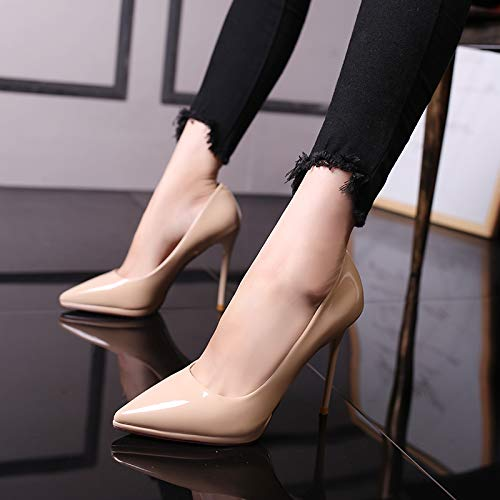 Color Heel Yukun Temperament Shoes zapatos de Pointed Fashion Mouth Women's Fine tacón alto Shallow Women's Wild High with Nude Pure xwq4Xq0nU
