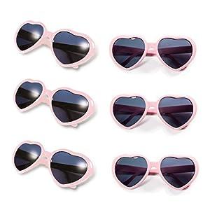Gyaya Neon Colors Party Favor Heart Shape Sunglasses (6 Pack Rainbow Set) (Pink)