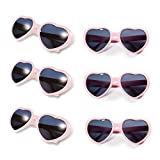 Gyaya Neon Colors Party Favor Heart Shape Sunglasses (6 Pack Rainbow Set) (Pink)