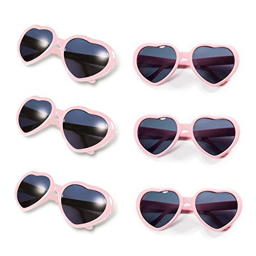 Gyaya Neon Colors Party Favor Heart Shape Sunglasses (6 Pack Rainbow Set) (Hearts Party Pack)