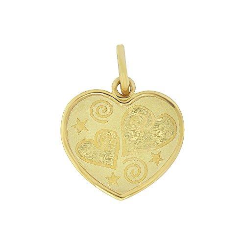 (14k Yellow Gold, Light Weight Hearts & Stars Laser Engraved Heart Pendant)