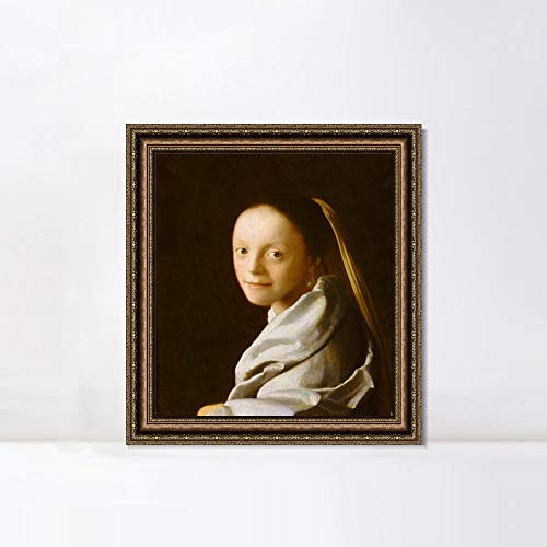 INVIN ART Framed Canvas Art Giclee Print Portrait of a Young Woman by Johannes Vermeer Wall Art Living Room Home Office Decorations(Vintage Embossed Gold Frame,20