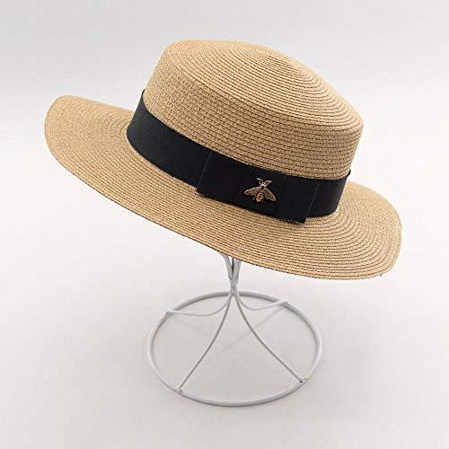 TtKj Lady Hat Vintage Clip Gold Silk Natural Paper Grass Flat Hat Wide Eaves Outdoor Tourism Beach Visor