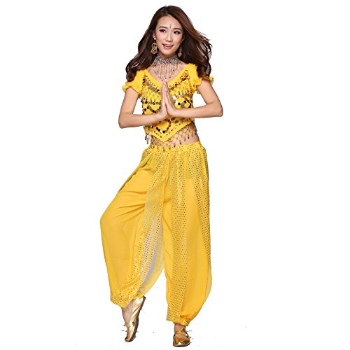Belly Dance Costume Set Indian Dance Coins Top & Sequins Bloomers yellow