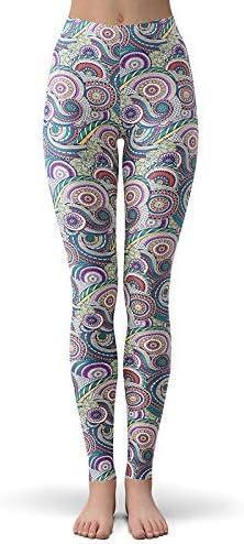 MAOYYMYJK Leggings Stampati Fiori Etnici Paisley Etnici Indiani per Donna Leggings Fitness Slim butirrosi spazzolati Morbidi Vintage