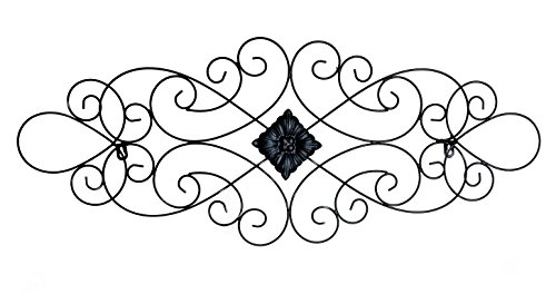 Bellaa 23226 Scrolled Metal Wall Art Medallion Plaque Oblong Living Room Home Decoration ()
