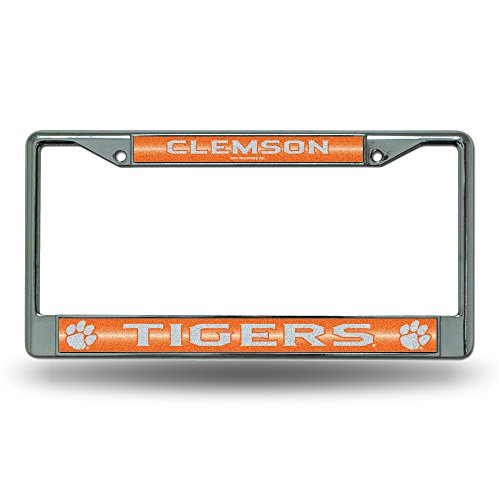 NCAA Clemson Tigers Bling Chrome License Plate Frame with Glitter ()
