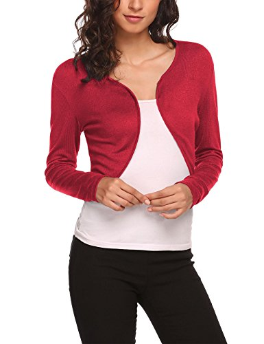 HOTOUCH Womens Plain Open Front Long Sleeve Bolero Shrug Cropped Cardigan Blouse Top Red XL