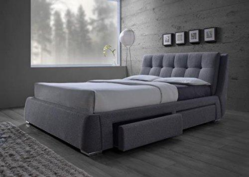 Coaster Home Furnishings 300523KE Upholstered Bed, King, Grey/Chrome