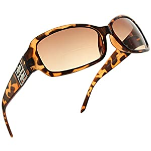 Womens Bifocal Sunglasses Sun Reader Rectangle Fashion Glasses Reading Glasses [Brown Tortoise, 1.00]