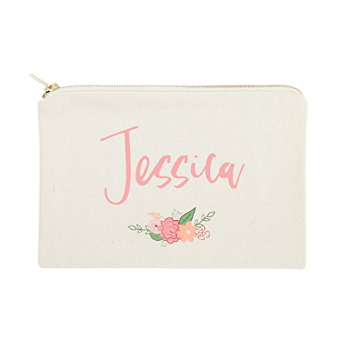 The Cotton & Canvas Co. Personalized Colored Name Floral Cosmetic Bag and Travel Makeup -